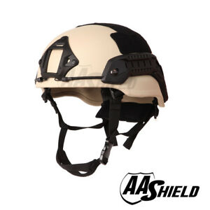 AA Shield Ballistic MichTactical Military Helmet Middle Cut Safety IIIA 3A Tan