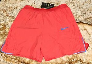 NIKE AeroSwift Max 7 in Track Red Reflective Silver Running Shorts NEW Mens Sz S