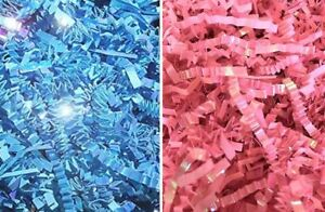 Iridescent Pink or Blue Crinkle Cut Shred Gift Box Cello Bag Basket Grass filler