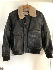 Levi's Brown Faux Leather Jacket with Sherpa Collar Lined Mens  Large RCP