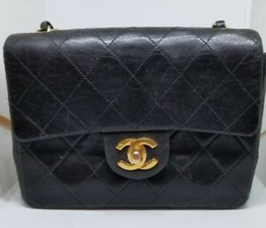 Vintage Classic Black Chanel Quilted Leather Chain Gold Single Handbag