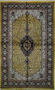 Vintage Jaipur Area Rug Indian Oriental Silk and Cotton Rug Yellow Black 4' x
