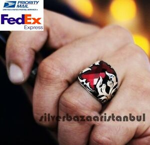 SHOWY Ruby Stone Turkish Jewelry Handmade 925 Sterling Silver Mens Ring ALL SİZE