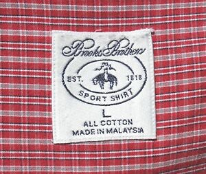Brooks Brothers Gentleman's L Maroon Blue & White Check 100% Cotton Sport Shirt
