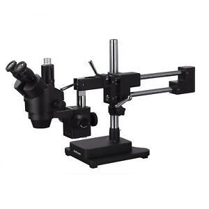 AmScope 3.5X 90X Simul Focal Trinocular Stereo Zoom Microscope Double Arm Boom $616.99