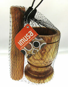 IMUSA Wood Mortar and Pestle For Dried Spices