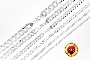 ITALY 925 SOLID Sterling Silver Diamond Cut CURB Chain Necklace - Bracelet