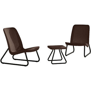 Patio Chat Set 3pc Garden Furniture Conversation Chairs Table All Weather Rattan