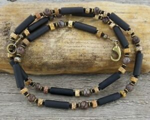 Unisex - Men's Thin Necklace in Natural Matte Black Onyx & Jasper Stone