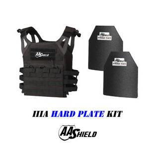 AA Shield Molle Carrier Military Tactical Vest Lvl IIIA Hard Plate 3A KitBlack