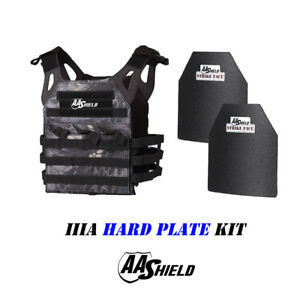 AA Shield Molle Carrier Military Tactical Vest Lvl IIIA Hard Plate Kit TYPHON