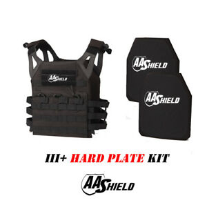AA Shield Molle Lightweight Military Tactical Vest III Rifle Plate KitBlack