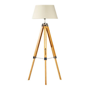 Designer Tripod Floor Lamp Beige Linen Shade Home Bamboo 150cm H Adjustable