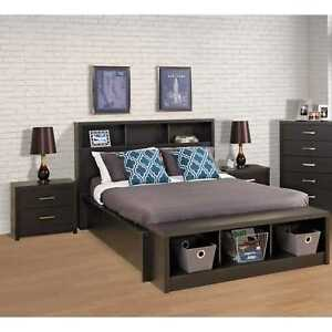 Queen Size Upholstered Bookcase Headboard Storage Bedroom Wood Furniture Black