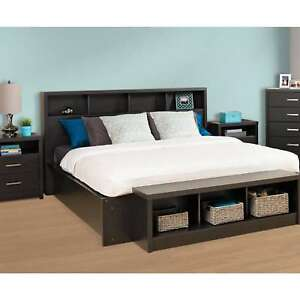 King Size Upholstered Bookcase Headboard Storage Bedroom Wood Furniture Black