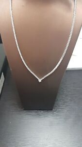 RRP £8000.. Last Piece 4.00ct  Round Diamond Designer Necklace  18 K White Gold