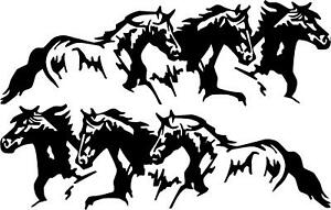 6 running horses 3 left and 3 right pony colt VINYL DECAL STICKER 3010 A18