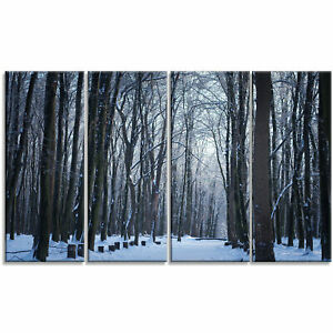 'Thick Woods in Winter Forest' 4 Piece Photographic Print on Wrapped Canvas Set