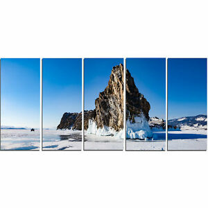 Winter Lake Baikal Panorama 5 Piece Photographic Print on Wrapped Canvas Set
