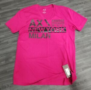 ARMANI EXCHANGE AX MENS T-SHIRT NEW YORK MILAN PINK FUSCHIA V-NECK M NEW NWT