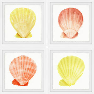 Highland Dunes 'Sea Shells Wonder' 4 Piece Framed Acrylic Painting Print Set
