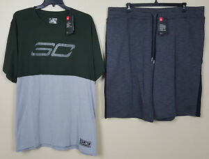 UNDER ARMOUR STEPH CURRY SHIRT + SHORTS GREEN GREY BLACK RARE NEW (SIZE 4XL)