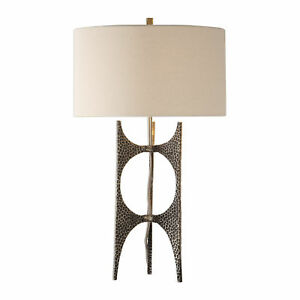 Modern Hammered Bronze Metal Sculpture Table Lamp  Open Abstract Mid Century