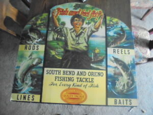 LARGE RARE VINTAGE SOUTH BEND AND ORENO FISHING TACKLE BAIT STORE WINDOW DISPLAY
