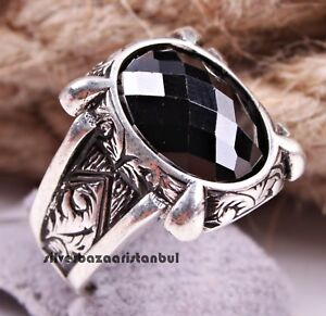 HANDMADE Turkish 925 Sterling Silver black onyx stone mens man ring ALL SİZE US
