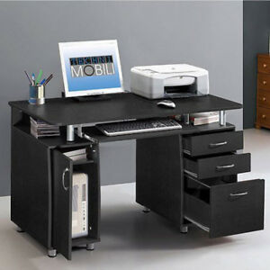 Wood Computer Desk Office PC Workstation Study Writing Table With 3 Drawer Black