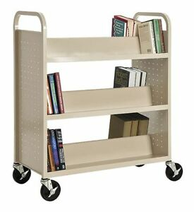 Sandusky Lee Steel Book Truck with 3 Double Sided Sloped Shelves Putty -