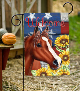 Toland Sunflower Horse 12.5 x 18 Patriotic Barnyard Welcome Fall Garden Flag