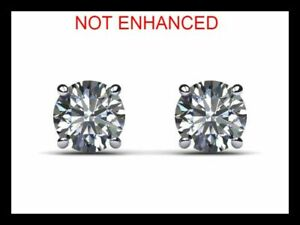 34 ctw DVS2 Real 100% Natural Round Cut Diamond Stud Earrings 14k White Gold
