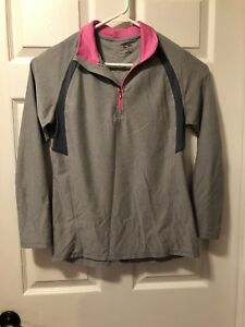 Champion Women's Gray Pink 1 2 Zip Semi Fitted Running Shirt Long Sleeve Size S $18.00
