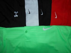 Lot 5 Under Armour Nike Dri-Fit Fit-Dry Mens Polo Shirts 2XL XXL XX Large 1 NWOT