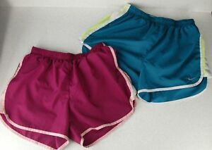 Running Shorts Lot (2) S M Womens Blue Pink Brief Liner NIKE TEMPO Champion