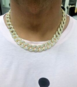 15mm Men's Iced Out Gold Finish Cuban Chain Link Necklace 18