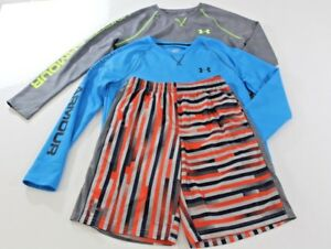 Lot 3 Youth Boys UNDER ARMOUR 2 XL Long Sleeve Shirts & 1 L Shorts EXCELLENT!