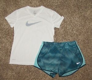 NIKE Set Girl's Shirt & Tempo Shorts Dri-Fit Large