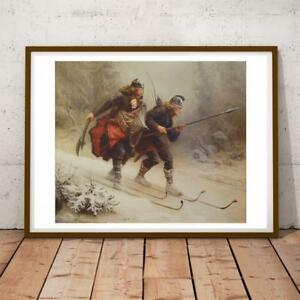 KNUD BERGSLIEN NORWEGIAN ROMANTICIST WARRIORS SKIS 1 28X22 INCHES ART PRINT P P