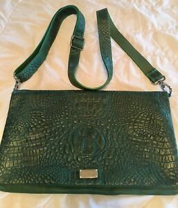 Nina Heyer Germany Croc Crocodile Embossed Green Leather Purse Clutch Crossover