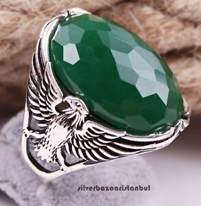 Emerald Stone Turkish Handmade Eagle 925 Sterling Silver Mens Mans Ring ALL SİZE
