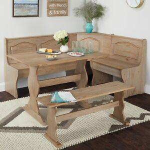 Dining Kitchen Corner Nook 3 Piece Bench Breakfast Booth Table Rustic Wooden