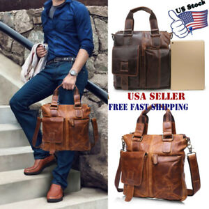 Men's Vintage Buffalo Leather Messenger Bags Satchel Laptop Briefcase Crazy USA