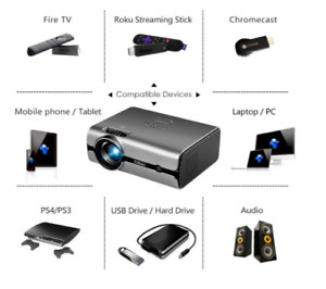 CiBest Video Projector Lumens 4Inch Mini Projector with 170