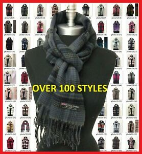 100% CASHMERE Scarf Plaid Solid SCOTLAND Wool Wrap SOFT High quality  Infinity