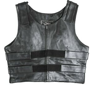 Mens Bullet Proof style Leather Motorcycle Vest  for bikers Club Tactical Vest