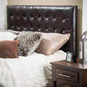 King Size Bonded Leather Upholstered Headboard Stable Modern Contemporary Brown