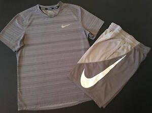 NIKE Athletic Boys Sz LARGE Gray Dry-Fit T-Shirt Shorts 2-Piece Active OUTFIT
