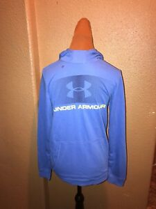 EUC Under Armour Mens Blue Logo Hoodie Loose Fit Cold Gear Size: S Small